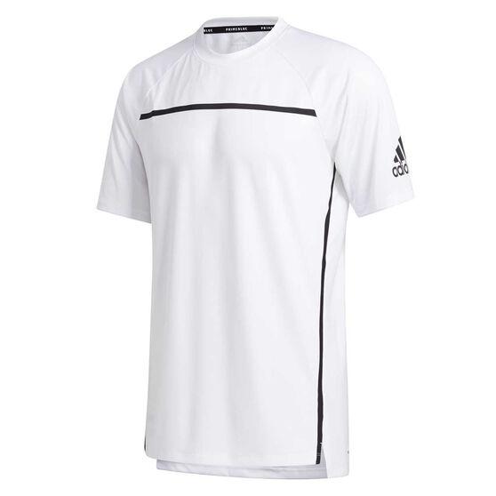 adidas Mens Primeblue Tee White XL, White, rebel_hi-res