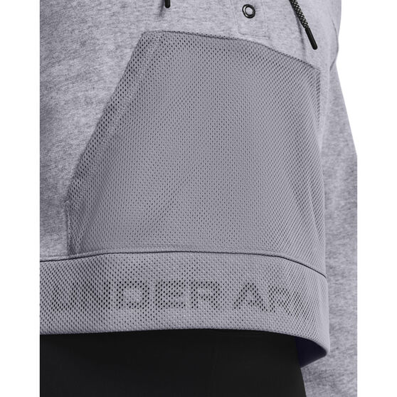 Under Armour Womens UA Rival Fleece Mesh Hoodie, Grey, rebel_hi-res