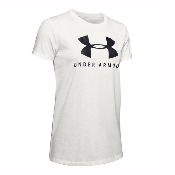 Under Armour Womens Sportstyle Graphic Muscle Tee, White, rebel_hi-res
