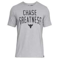 Under Armour Mens Project Rock Chase Greatness Tee Grey / Black S, Grey / Black, rebel_hi-res