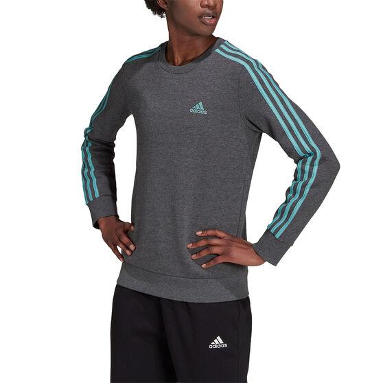 adidas Womens Essentials Fleece 3-Stripes Sweatshirt, Grey, rebel_hi-res