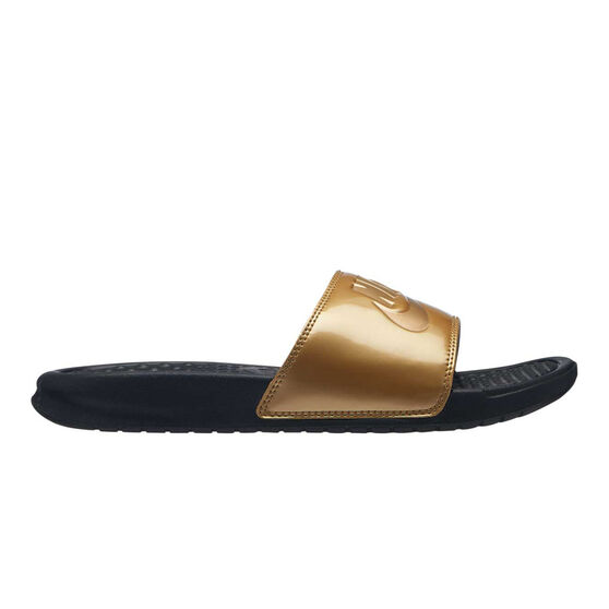 Nike Benassi Just Do It Print Womens Slides Gold / Black US 6, Gold / Black, rebel_hi-res