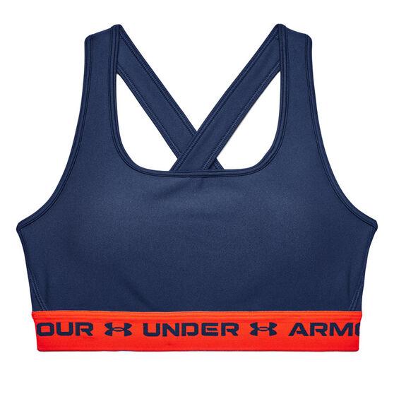 Under Armour Womens Mid Crossback Sports Bra, Navy, rebel_hi-res