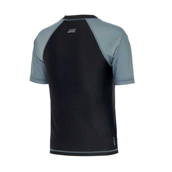 Zoggs Boys Entity Short Sleeve Rash Vest, Black / Grey, rebel_hi-res