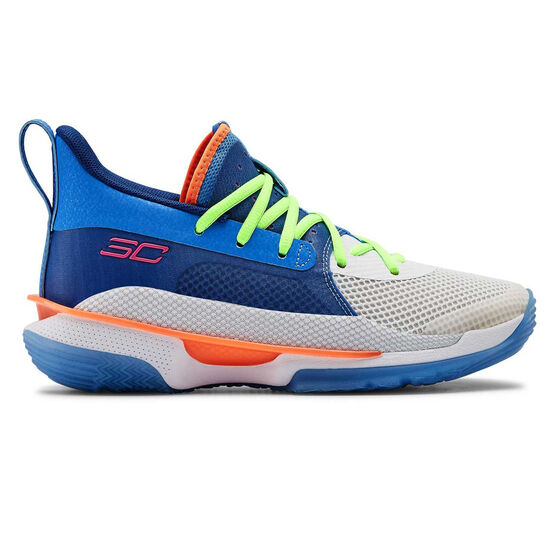 Under Armour Curry 7 Kids Basketball Shoes, , rebel_hi-res