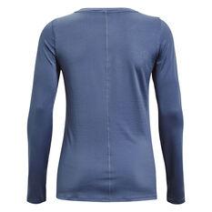 Under Armour Womens HeatGear Armour Long Sleeve Tee, Blue, rebel_hi-res