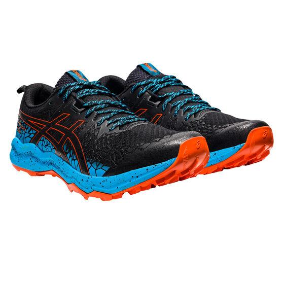 Asics Fuji Trabuco Lyte Mens Trail Running Shoes, Black/Aqua, rebel_hi-res