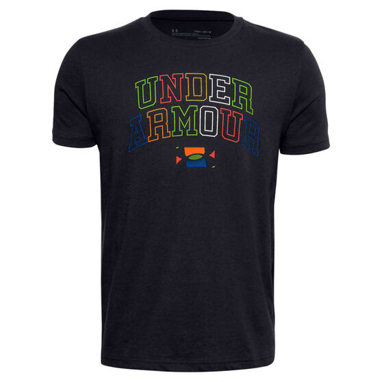 Under Armour Boys Multicolour Wordmark Tee Black M, Black, rebel_hi-res