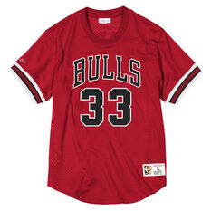 Chicago Bulls Scottie Pippen 33 Mens Mesh Tee Red S, Red, rebel_hi-res