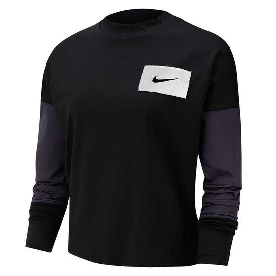 Nike Womens Midlayer Running Sweater, Black, rebel_hi-res