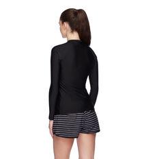Speedo Womens Endurance Zip Up Long Sleeve Sun Top Black 8 8, Black, rebel_hi-res