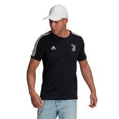 Juventus FC 2021/22 Mens 3-Stripes Tee Black S, Black, rebel_hi-res