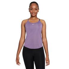 Nike Womens Dri-FIT One Elastika Tank Purple XS, Purple, rebel_hi-res