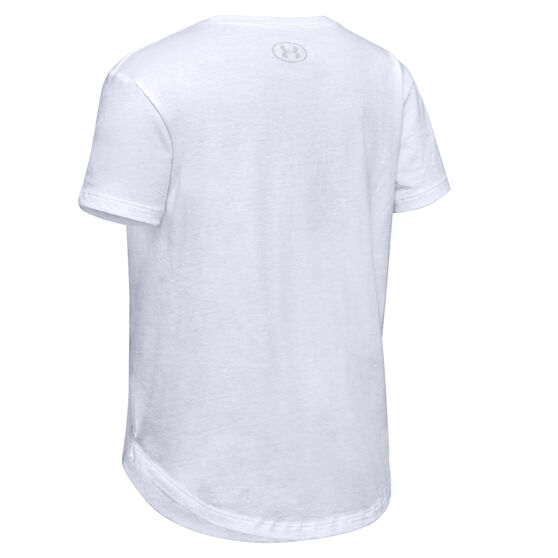 Under Armour Girls Branded Repeat Tee, White, rebel_hi-res