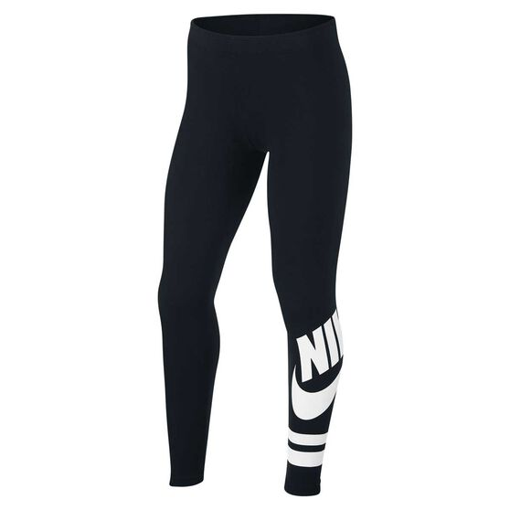 Nike Girls Favourite Leggings, Black / White, rebel_hi-res