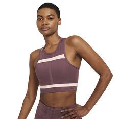 Nike Womens Dri-FIT Swoosh Run Division Sports Bra Purple XS, Purple, rebel_hi-res