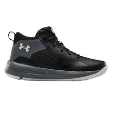 Under Armour Lockdown 4 Kids Basketball Shoes Black US 4, Black, rebel_hi-res