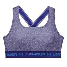 Under Armour Womens Mid Crossback Heather Sports Bra, Blue, rebel_hi-res
