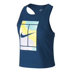 NikeCourt Womens Cropped Tennis Tank Blue XS, Blue, rebel_hi-res