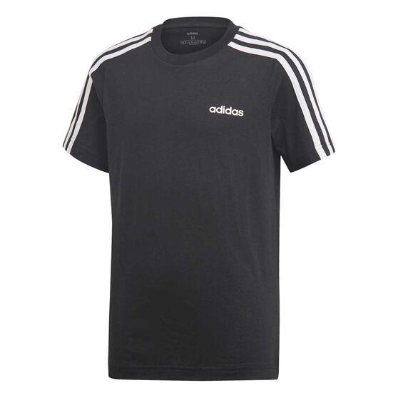 adidas Boys Striped Tee, Black / White, rebel_hi-res