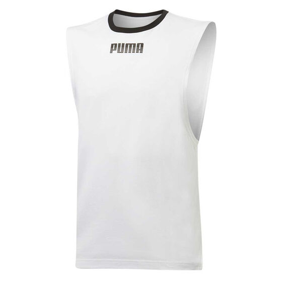 Puma Mens Rebel Tank, White, rebel_hi-res