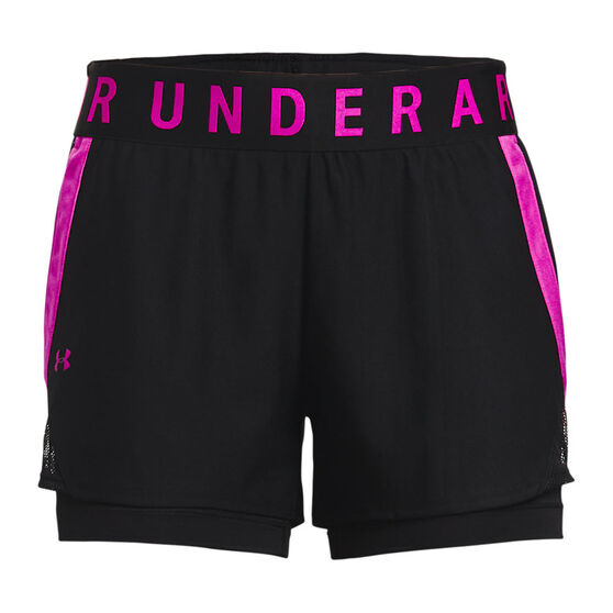 Under Armour Womens Play Up 2 In 1 Shorts, Black, rebel_hi-res