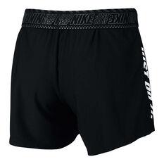 Nike Womens Dri FIT Training Shorts Black XS, Black, rebel_hi-res