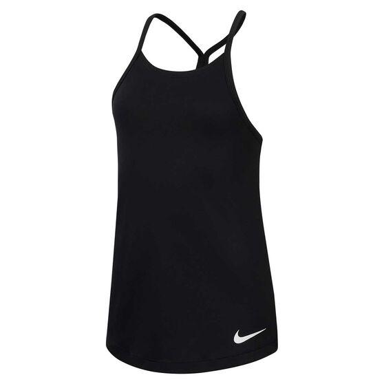 Nike Girls Dry Elastika Tank, Black / White, rebel_hi-res