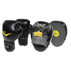 Everlast Boxing Glove and Mitt Combo Black 12oz, , rebel_hi-res