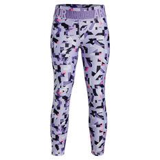 Under Armour Girls HeatGear Printed Ankle Crop Tights Purple XS, Purple, rebel_hi-res