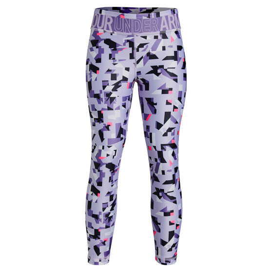 Under Armour Girls HeatGear Printed Ankle Crop Tights Purple XL, Purple, rebel_hi-res