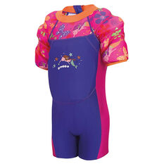Zoggs Mermaid Flower Waterwing Floatsuit Purple 1 - 2 Years, Purple, rebel_hi-res