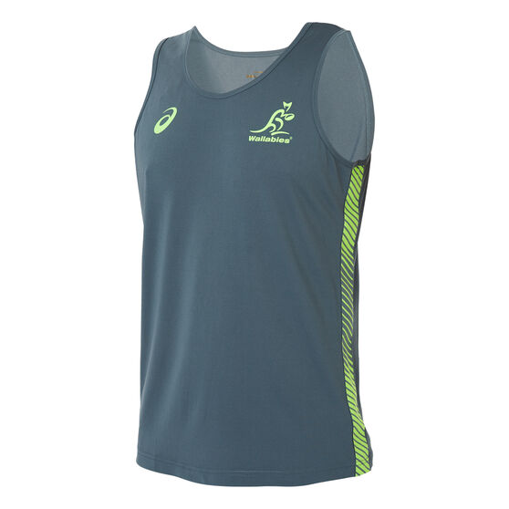 Wallabies 2019 Mens Rugby World Cup Training Tank, Green, rebel_hi-res