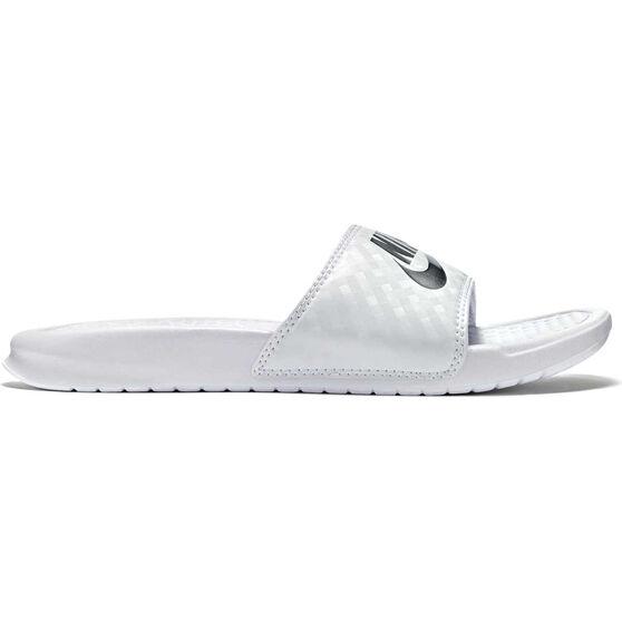 Nike Benassi JDI Swoosh Womens Slides, White / Silver, rebel_hi-res