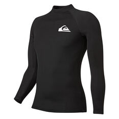 Quiksilver Mens Heater Long Sleeve Rash Vest Black S, Black, rebel_hi-res