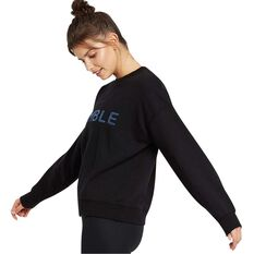 Nimble Womens Chill Time Crew Sweatshirt, Black, rebel_hi-res