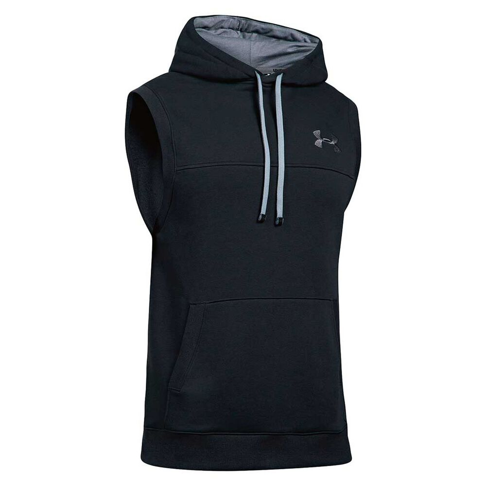 5bf2a7d2ab992 Under Armour Mens Rival Fleece Sleeveless Hoodie Black   Grey S ...