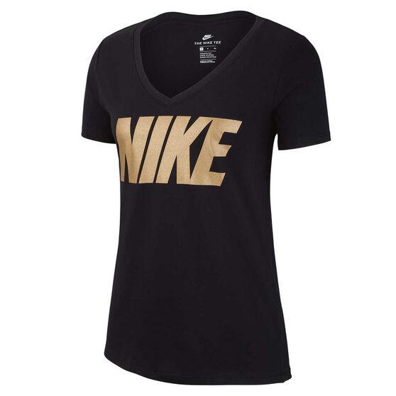 Nike Womens Sportswear Metallic Tee Black XS, Black, rebel_hi-res