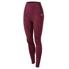 Running Bare Womens Ab Tastic Studio Full Length Tights Purple 8, Purple, rebel_hi-res