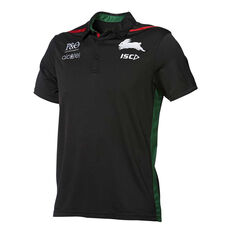 South Sydney Rabbitohs 2019 Mens Performance Polo Black S, Black, rebel_hi-res