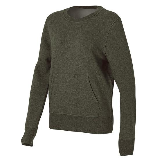 Ell & Voo Womens Harper Fleece Crew Sweatshirt, Khaki, rebel_hi-res