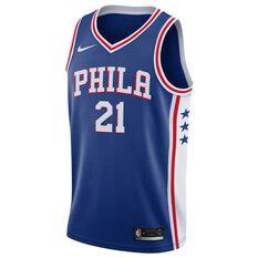 Nike Philadelphia 76ers Joel Embiid 2018 Mens Swingman Jersey Rush Blue S, Rush Blue, rebel_hi-res