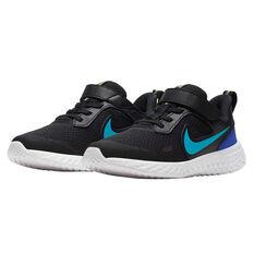 Nike Revolution 5 Kids Running Shoes, Black / Blue, rebel_hi-res