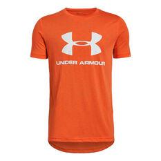 Under Armour Boys Sportstyle Logo Tee Orange / White XS, Orange / White, rebel_hi-res