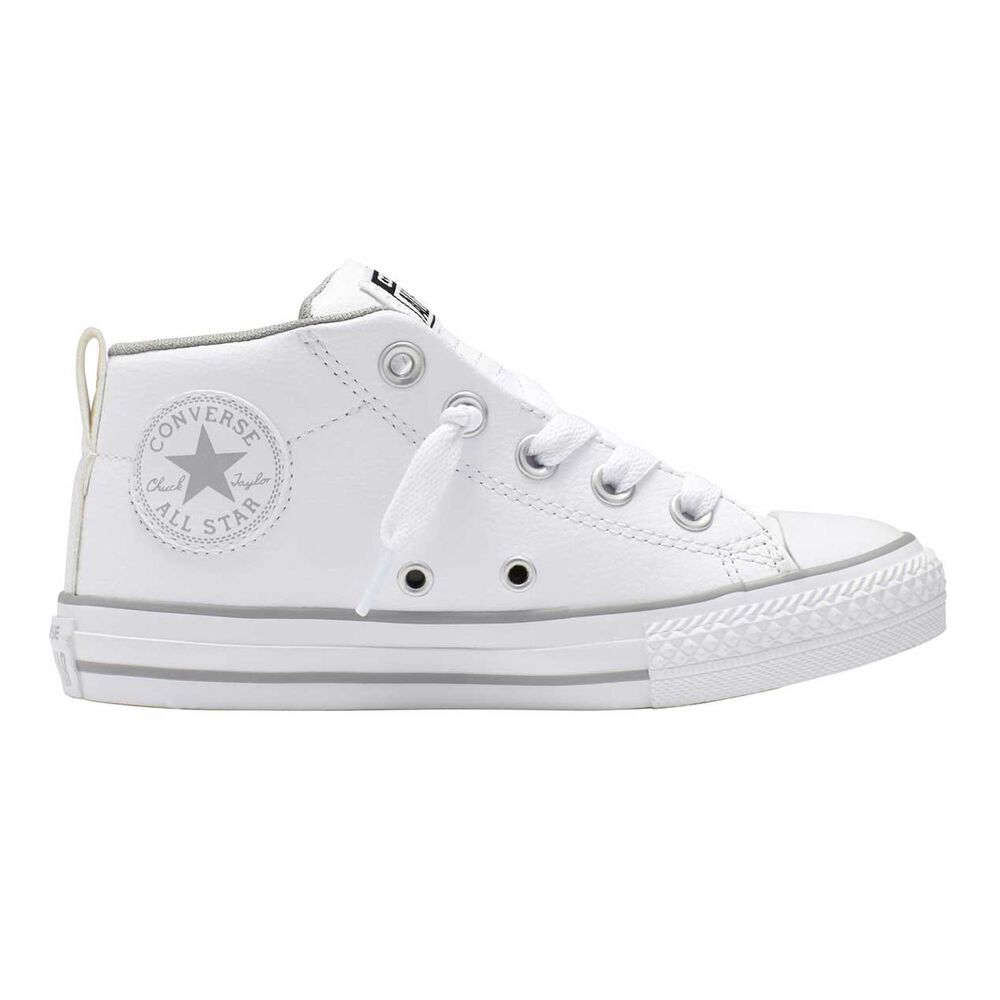Converse Chuck Taylor All Star Street Leather Mid Cut Kids Casual Shoes  White   White US 07327031c