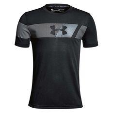 Under Armour Boys Threadborne Tech Tee Black / Grey XS, Black / Grey, rebel_hi-res