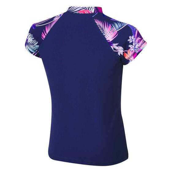 Tahwalhi Girls Pastel Palms Rash Vest Blue 8, Blue, rebel_hi-res