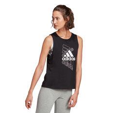 adidas Womens Essentials Stacked Logo Tank, Black, rebel_hi-res