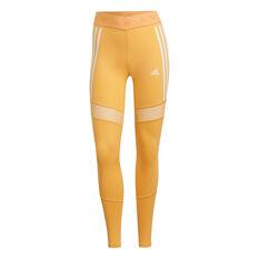 adidas Womens Mesh Training Tights Orange XS, Orange, rebel_hi-res