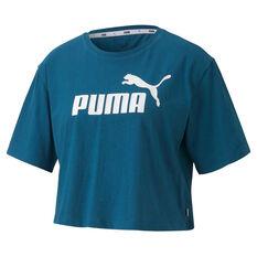 Puma Womens Essentials Cropped Tee Blue XS, Blue, rebel_hi-res
